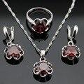 Flor Vermelha Criado Garnet Cor Prata Conjuntos de Jóias Para As Mulheres Brincos Anéis Colar de Pingente de Presente de Natal Feita na China