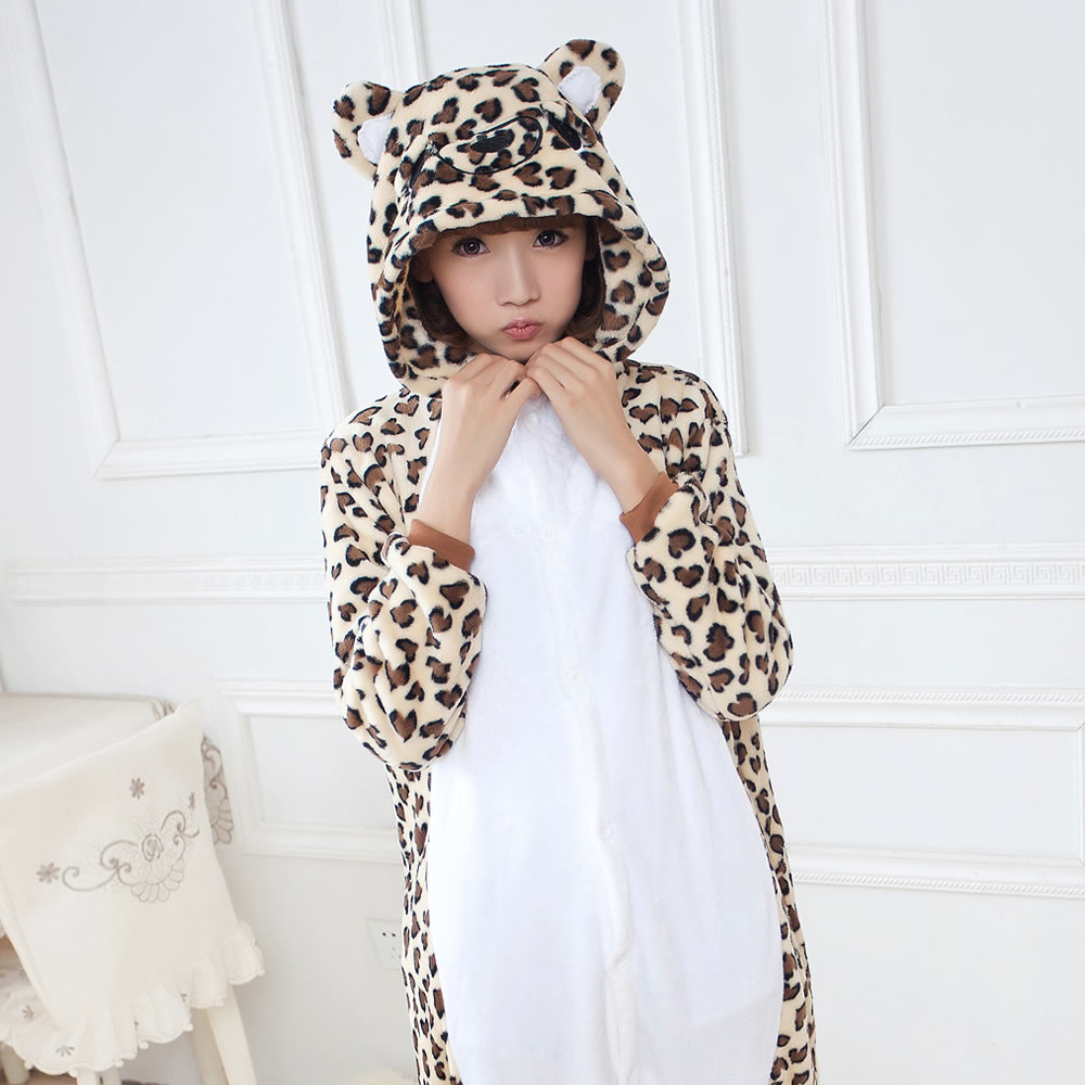 Leopard Bear Cartoon Adult Unisex Costume Animal Cosplay Pajamas Sleepwear Onesies Pajama For Women Men Couples Girls