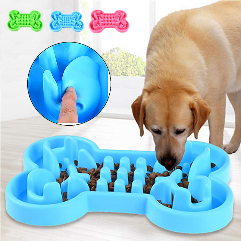 Pet Dog Cat Interactive Slow Food Bowl Durable Silicone Anti-Slip Anti-Gulping Dog Feeder Dishes For Feeding Large Dog Bowls