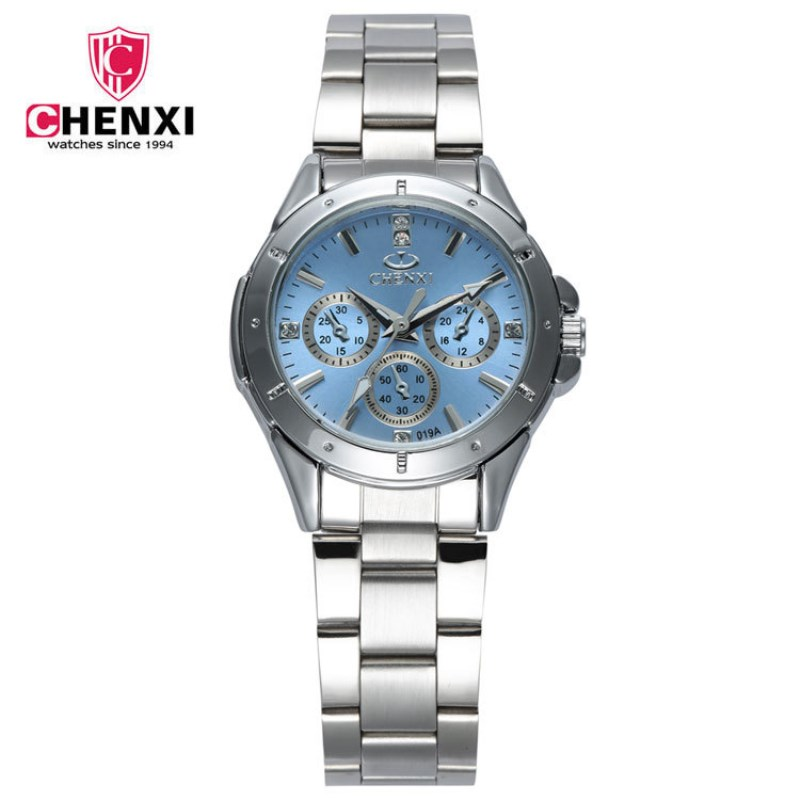 NATATE CHENXI Women Quartz Watch Crystal Rhinestone For Lady Stainless Steel Band Round Pink Dial Waterproof Wristwatch WH0100 natate ibso women quartz watch crystal decorated large round dial analog wrist watch with waterproof woman leather band s3819