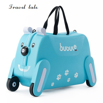 Travel tale creative lovely small 19 PP Rolling Luggage Spinner brand Travel children's Suitcase dog shape Can sit and ride travel tale color stitching
