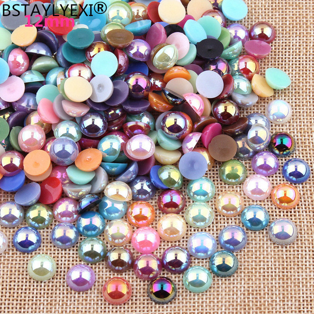 US $1 73 |BSTAYLYEXI Free Shipping Pick Colors12mm 50Pcs/lot AB Colors ABS  Imitation Pearls Craft Half Round Flatback Beads DIY Decoration-in Garment