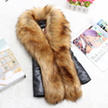 2016 New Women Winter Faux Fur Vest Patchwork Fur Coat High Quality Fashion Slim Plus Size Outerwear PC045