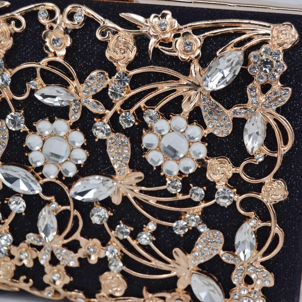 2 Kleur Goud Zwart Clutch Avondtasje Crystal Party Luxe Wedding Purse Vrouwen Keten Clutch Bag