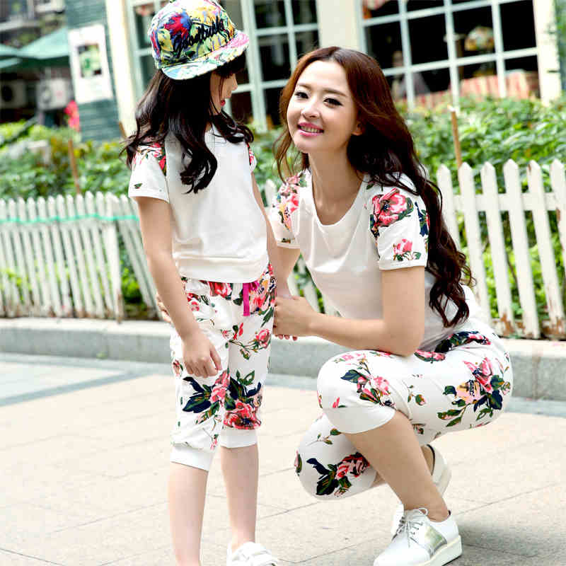 2016 Matching Mother Daughter Father Son Clothing Set Family Clothing T-Shirt And Shorts Set Plus Size Cotton T-shirt And Shorts