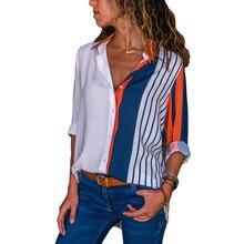 Blusa para las mujeres Casual Tops naranja Indigo rayas de Color bloque  largo manga botón abajo camisa femenina Camisas camisa d. d0100a1acdc6e