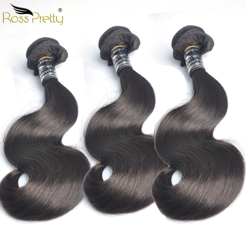 Thickest Double Draw Peruvian Hair Virgin Hair Body Wave 3bundles Ross Pretty Hair Brand Quality Natural Human Hair Weave