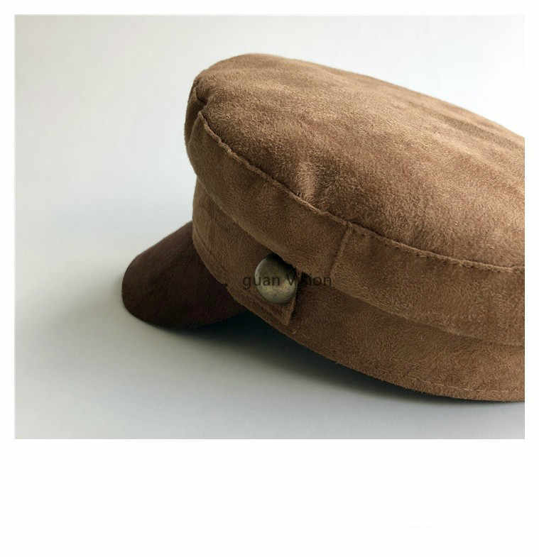 c3a3d76145d01 ... Chamois Leather Military Hat men women Flat Top Army Cap Custom online  celebrity British style Browm