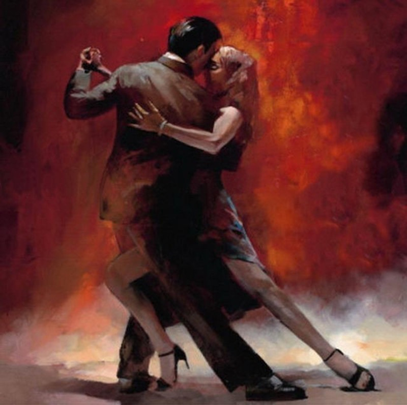 Hand Painted Canvas Oil Paintings Modern Home Decor Wall Art Tango Dancers Pictures Dancer Couple Acrylic Figure Painting Paper