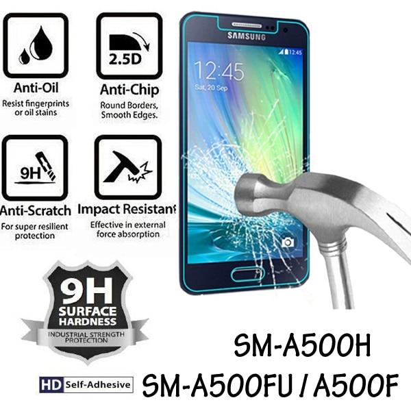 SM-A500FU SM-A500F SM-A500H edzett üvegvédő fólia a Samsung Galaxy A5 2015 képernyővédő fólia részére Samsung A5 2015