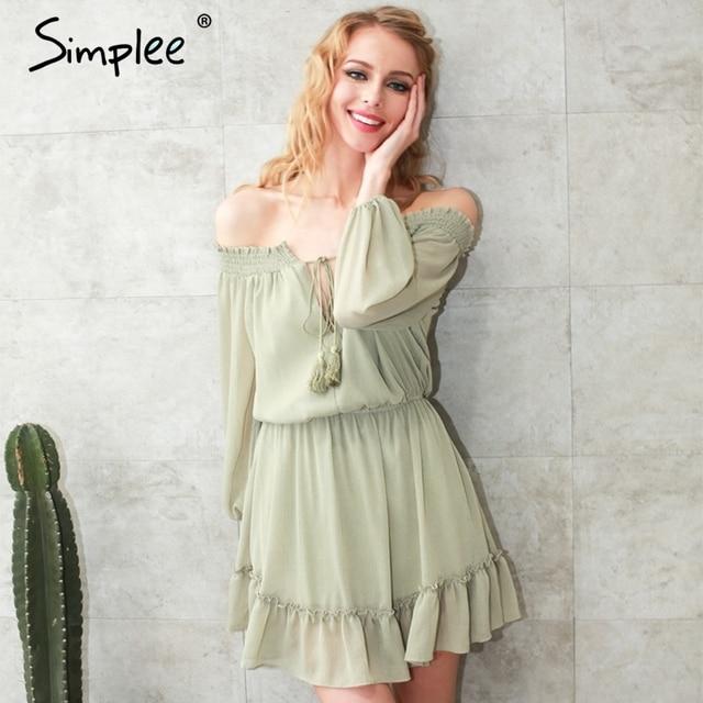 Simplee Short chiffon vintage dress women Off shoulder long sleeve beach summer dress Ruffle sexy dress new year vestido