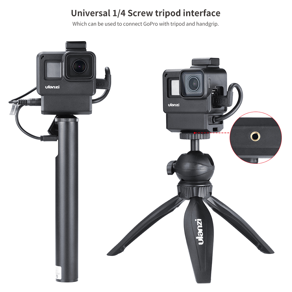 Image 3 - ULANZI V2 Pro GoPro Vlogging Case Housing Cage Frame w Microphone Cold Shoe bracket+52mm ND Filter Ring Adapter for GoPro 7/6/5-in Sports Camcorder Cases from Consumer Electronics