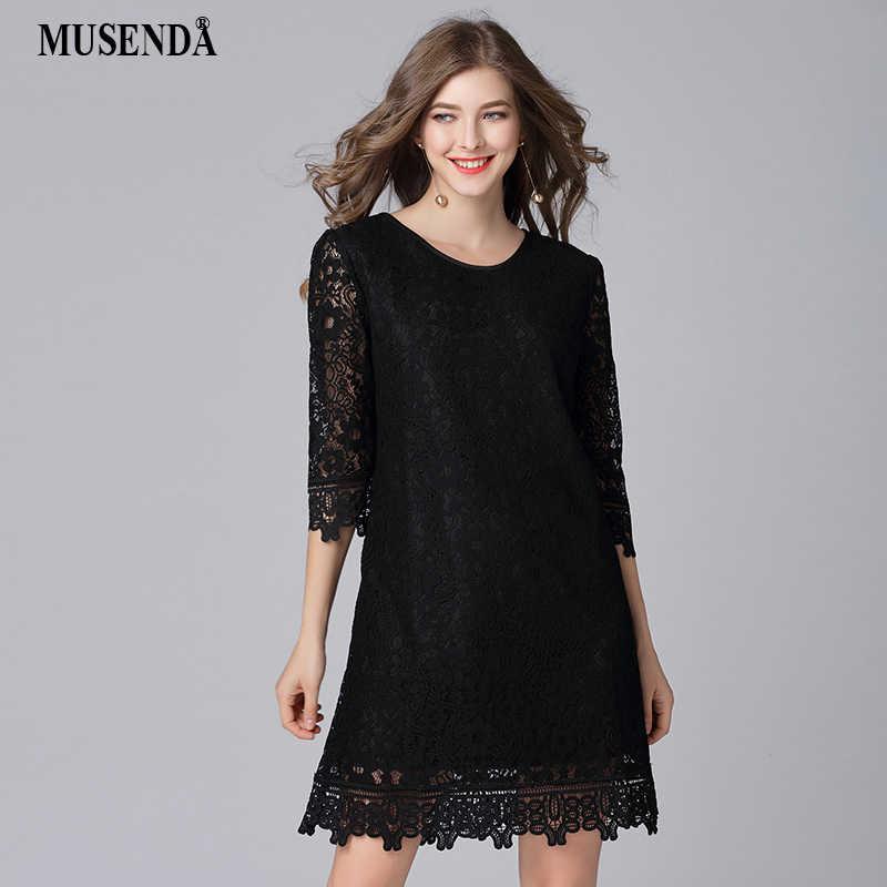 b2d425bb21d MUSENDA Plus Size Women Black Hollow Out Lace 3 4 Sleeve Dress New 2018  Spring
