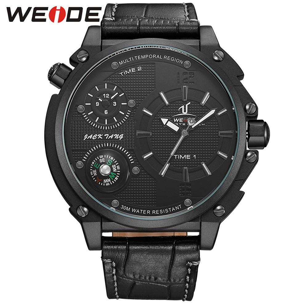 WEIDE Sports Watch Dual Time Zone Analog Display 3ATM Waterproof Unique Design Clock Men's Military Leather Strap Quartz Watches men s waterproof sports watch multifunctional watch w dual time zone led