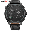 WEIDE Sports Watch Dual Time Zone Analog Display 3ATM Waterproof Unique Design Clock Men's Military Leather Strap Quartz Watches