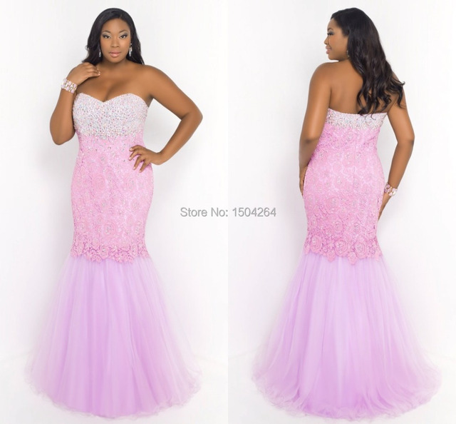 Charming Pink Mermaid Plus Size Prom Dresses With Lace Beaded