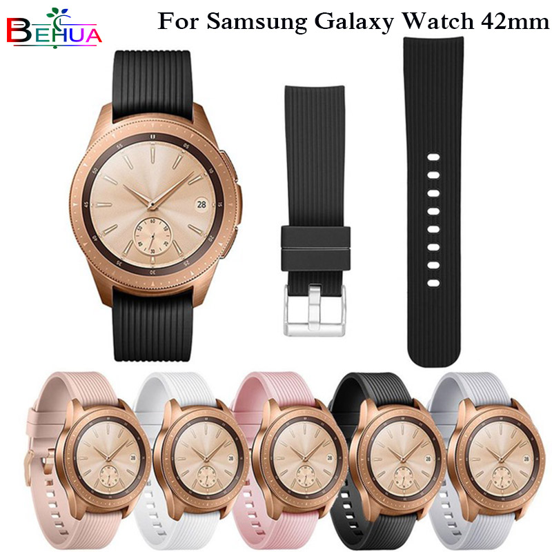20mm Sports Silicone Band For Samsung Galaxy Watch SM-R810 42MM & Gear 2 Sport Strap For Huami Amazfit Bip/Amazfit 2 Smart Watch jam tangan pria gold original