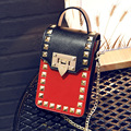 In 2016 the new single women shoulder bag inclined shoulder bag handbag fashion chain bag leather PU fabric black white red