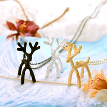 Timlee N098 Free shipping Cute Platium Forest Deer three-dimensional Pendant Necklaces Wholesale(China)