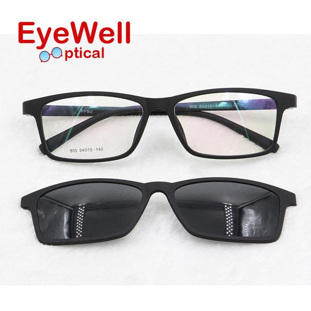 Vintage unisex miopía marco óptico con lente polarizada gafas de sol para los hombres y mujeres de adsorción imán clip de moda en gafas de sol 805