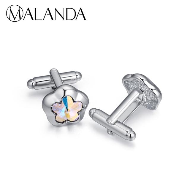 a49830e1d6a2 MALANDA Crystal From Swarovski Flower shape Cufflink For Men Gentleman  Fashion Shirt Cufflink Accessories Wedding Office Jewelry