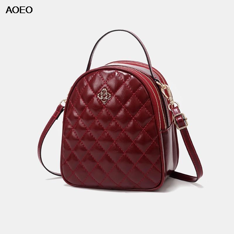 AOEO Luxury Handbags Women Bags Designer Small 2019 Rhombic Plaid Soft Split Leather 3 Pocket Girl Messenger Shoulder Bag Female