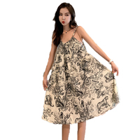 Woman Holiday Slip Dress Fashion Black Whit Printing Chinffon Braces Dresses Women Beach One Piece Leisure Knee Length Vestidos