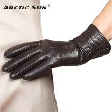 Brand Genuine Leather Gloves Fashion Women  Sheepskin Gloves Autumn Winter Plus Velvet Elegant Lady Finger Driving Glove L159NC