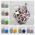 H054 Charms Mum To Be Gift Angel Caller Harmony Bola Pendant Blackened Silver Cage With Wax Leather Rope Pregnant Chime Ball