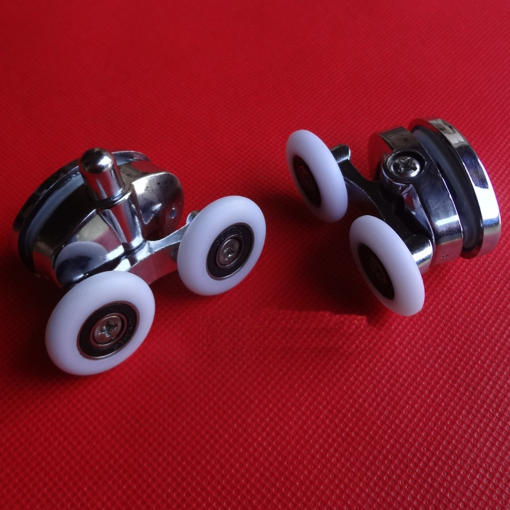 Shower room glass sliding double wheels door rollers, Upper and lower door pulleys, 2 Types diameter pulleys wheel accessories