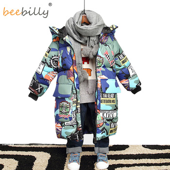 Jacket for Boys 2019 New Brand Hooded Winter Jackets Graffiti Camouflage Parkas For Teenagers Boys Thick Long Coat Kids Clothes