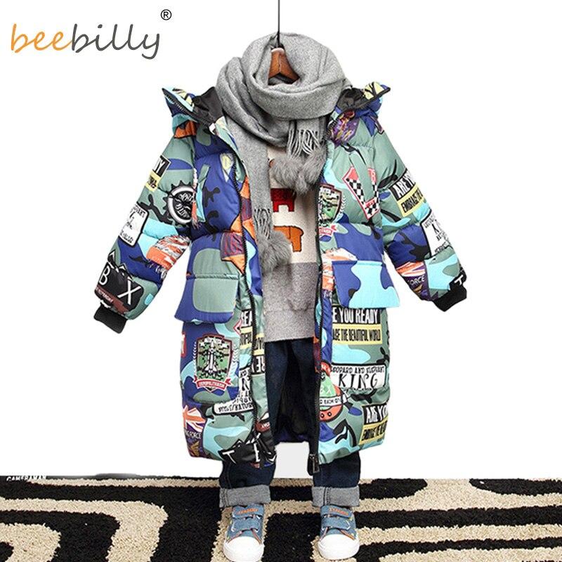 Куртка для мальчиков, новинка 2019 года, брендовые зимние куртки с капюшоном камуфляжные парки с граффити для мальчиков подростков, плотное длинное пальто, детская одежда