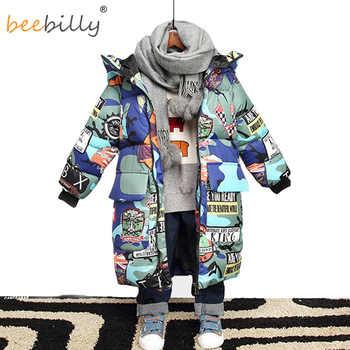 Jacke für Jungen 2019 Neue Marke Mit Kapuze Winter Jacken Graffiti Camouflage Parkas Für Jugendliche Jungen Dicken Langen Mantel Kinder Kleidung