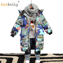 Jacket for Boys 2019 New Brand Hooded Winter Jackets Graffiti Camouflage Parkas For Teenagers Boys Thick Long Coat Kids Clothes(China)