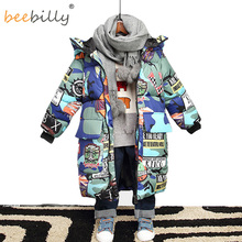 Jacket for Boys 2019 New Brand Hooded Winter Jackets Graffiti Camouflage Parkas