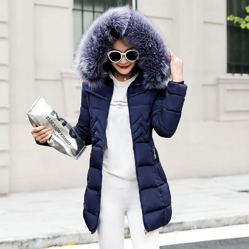 Womens Fur Collar Parka Jacket Hooded Outwear Winter Warm Down Long Coat Outwear