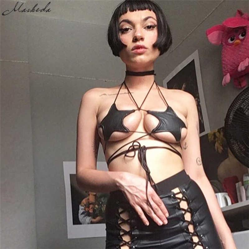 Macheda 2018 nouvelles femmes été Sexy dames noir étoile soutien-gorge haut bustier Simple pendaison cou réservoir décontracté femmes soutiens-gorge hauts