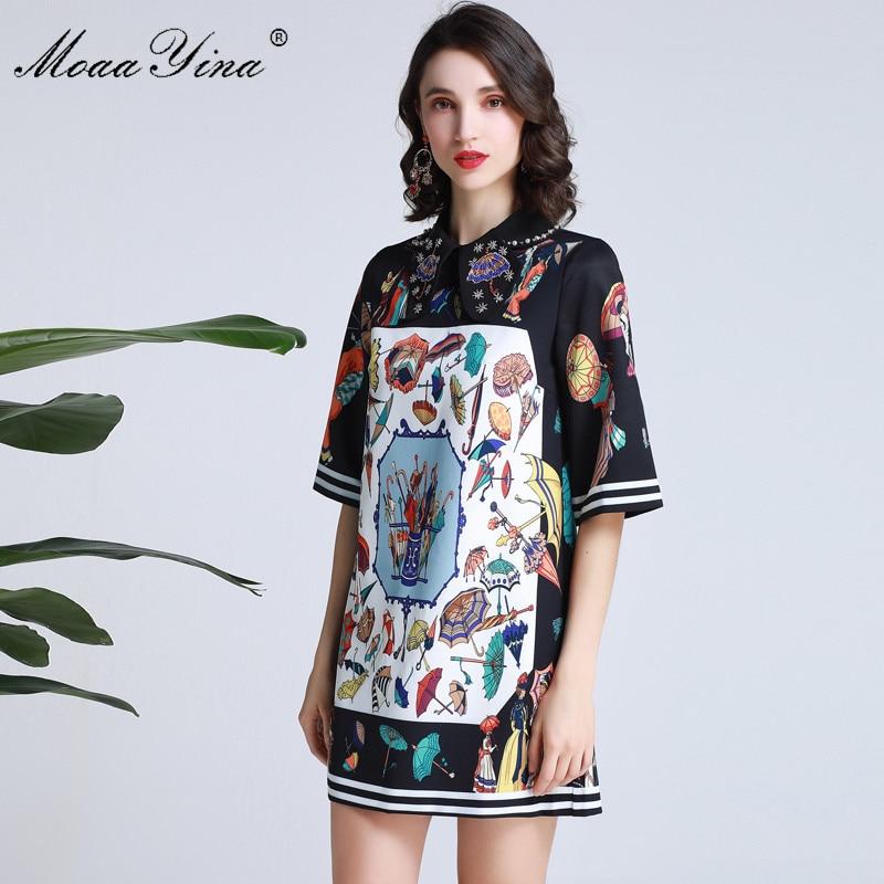 MoaaYina Fashion Designer Runway dress Spring Summer Women Dress Half sleeve Pearl Beading Colorful Umbrella Print