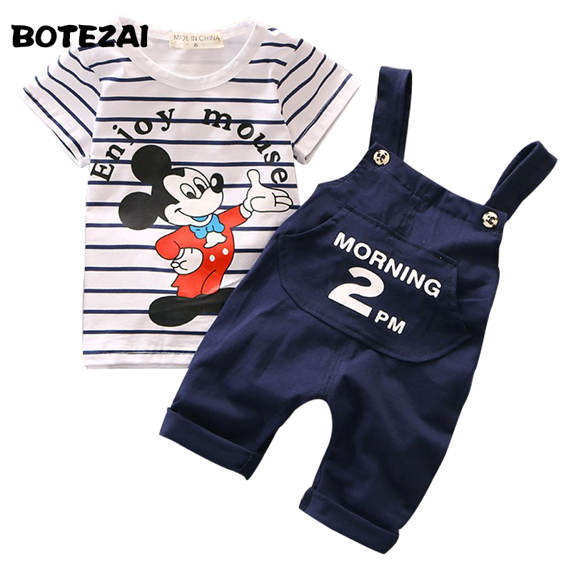 Boys Summer Fashion Clothes Set Children Clothing Sets Cartoon Short Sleeve Tshirt Top+Shorts Baby Boys Girls Clothes Tracksuit baby girl clothing syriped short sleeve tshirt pant headband 2pcs set summer baby girls clothes set roupa de bebe