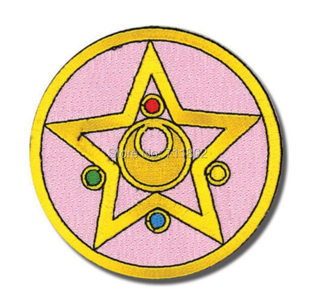 Sailor Moon iron on patches kid cartoon cloth embroidered cloth DIY Applique Round pink star Badge