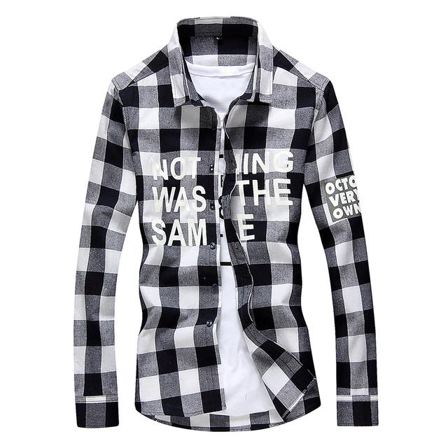 2017 Primavera Camisa Casual Xadrez de Algodão de Manga Longa Slim Fit Camisa Dos Homens Francês Manguito Camisas de Vestido Roupas Masculinas Sociais M-4XL