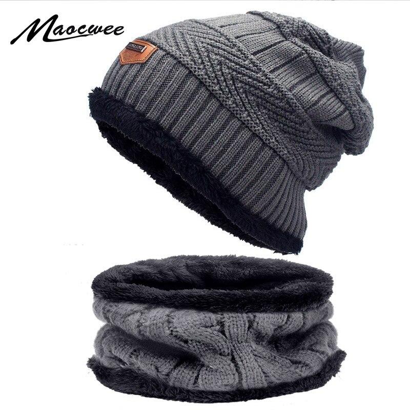 Unisex Beanie Winter Warm Cap Scarf Wool Knitted Hat /& Neckerchief For Men Women