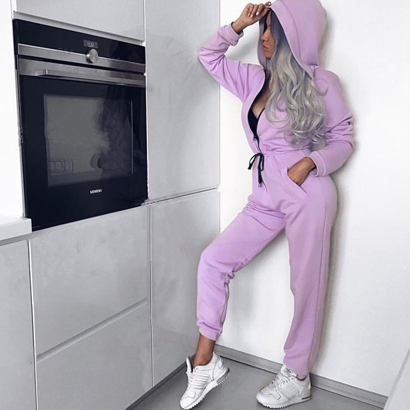 High-quality Casual Fitness Ladies   Jumpsuits   Autumn Winter Bandage Rompers Womens   Jumpsuit   Long Pants Hooded Bodysuit Overalls