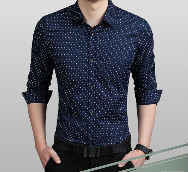 975168cfb3f9 Mens Dress Shirt Polka Dot Pattern Plus Size M 4XL 5XL Cotton Business  Casual Line Formal Shirts 5 COLORS Masculina Camisa C15-in Casual Shirts  from Men s ...