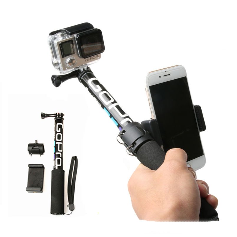 Self Selfie Stick Handheld Extendable Pole Monopod Phone Holder Adapter For Go Pro HERO 8 7 6 5 4 Xiaomi YI 4K Lite SJCAM SJ5000