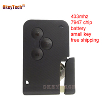 OkeyTech 2pcs Lot For Renault Megane Grand Scenic 2005 2006 2008 433mhz PCF7947 3 Button Smart