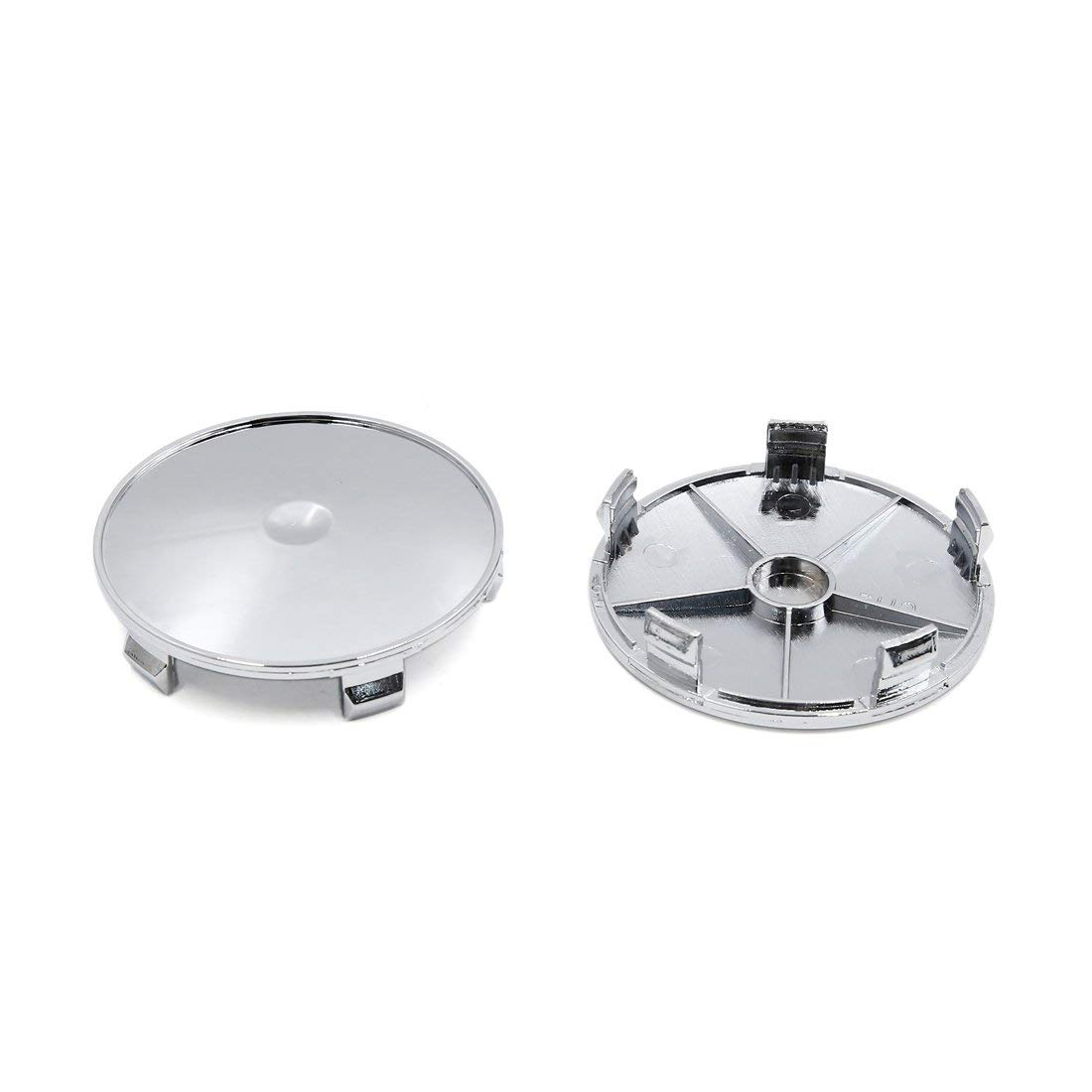 4 Pcs 68mm Dia 5 Lugs Auto Car Tire Wheel Rim Center Hub Caps Cover Silver Tone