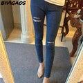 5 agujeros rasgados pantalones vaqueros flacos de las mujeres delgadas jean tobillo spendex lápiz del dril de algodón pantalones de las polainas jeggings mallas 2016 summer pantalon