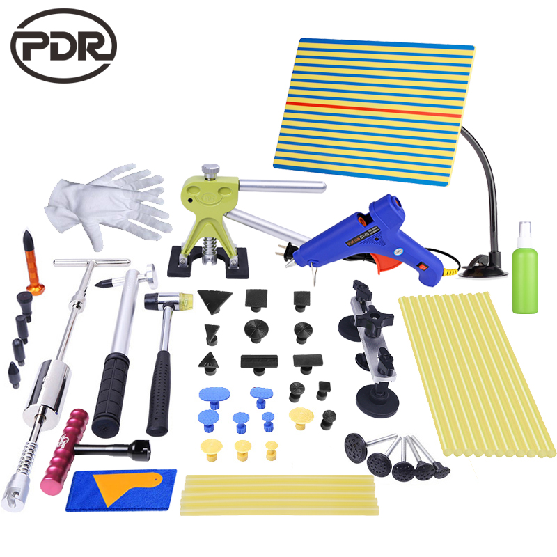 PDR Tools Kit Reflector Board Dent Puller Glue Tabs Tap Down Tools For Dent Removal Paintless Dent Repair Hail Damage Repair цена