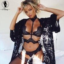 ALINRY sexy lace bra set women black floral push up transparent bralette plus size lingerie 2018 seamless underwear briefs sets